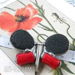 motyl broszki czerwone broszka: czarno czerwony