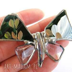 broszka broszki zielone: motyl malowany