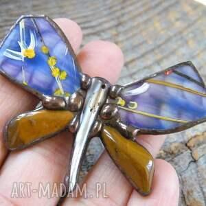 z-jaspisem broszki niebieskie broszka: motyl malowany