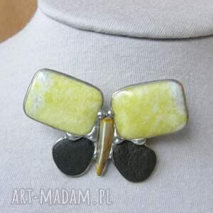 broszki nefryt broszka motyl cytrynowy z nefrytem