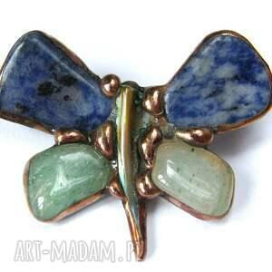 hand-made broszki motyl broszka: granatowo-zielony