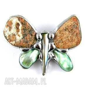 oryginalne broszki broszka z-kamieni : motyl ceglasto zielony