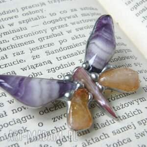 ręcznie wykonane broszki broszka-z-kamieni broszka motyl