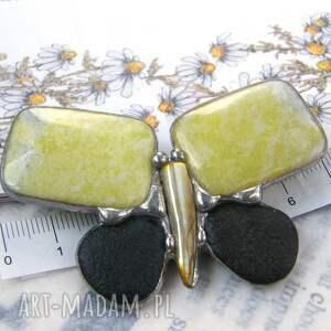 broszki broszka z-kamieni motyl cytrynowy z nefrytem