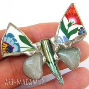 handmade broszki broszka z-kamieni: motyl folk z awenturynem