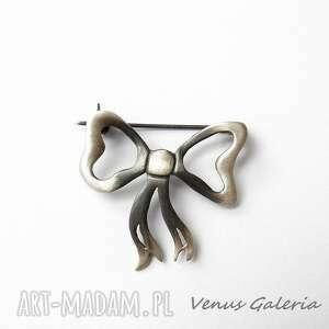eleganckie broszki biżuteria broszka srebrna - kokardka szara