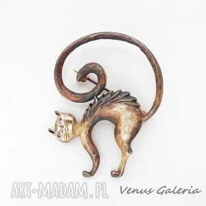 broszki biżuteria broszka srebrna - kot teofil