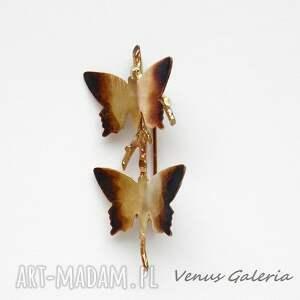 atrakcyjne broszki biżuteria broszka srebrna - butterfly brown