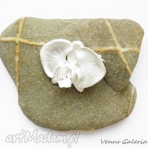 niepowtarzalne broszki biżuteria broszka srebrna - biała orchidea