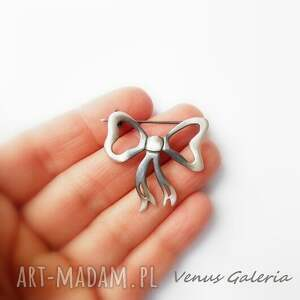 broszki srebro przeurocza broszka w kształcie kokardki