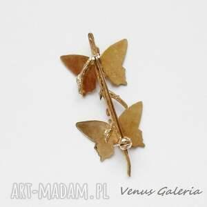 broszki srebro broszka srebrna - butterfly brown