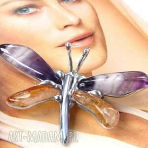 frapujące broszki ametyst broszka - wisiorek: motyl