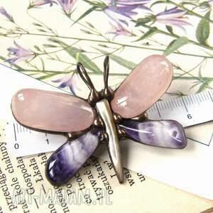 różowe broszki kwarc różowy broszka - wisiorek: motyl