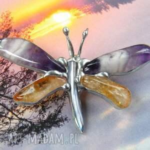 pomarańczowe broszka ważka - wisiorek: motyl
