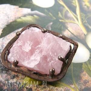 różowe broszki broszka z-kamieni: z naturalnym kwarcem