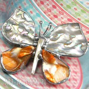 kolorowe broszki broszka z-perłą broszko - wisior: motyl z tęczową