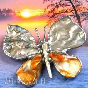 broszki broszko - wisior: motyl z tęczową