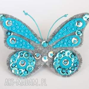 broszki filc cekinowy motyl broszka z filcu