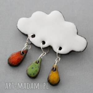 broszki design chmurka i krople deszczu - broszka