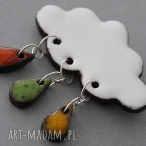 niepowtarzalne broszki minimalizm chmurka i krople deszczu - broszka