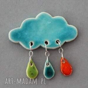 broszki praca chmurka i krople deszczu - broszka