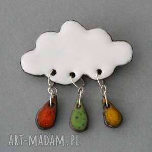design broszki chmurka i krople deszczu - broszka