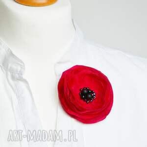 wyjątkowe broszki broszka czerwona kwiatek, czerwony