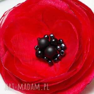 wyjątkowe broszki kwiatek czerwona broszka, czerwony
