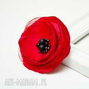 kwiatek broszki czerwona broszka, czerwony