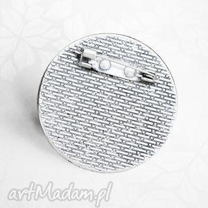 srebrne broszki błękit diamentowe serce - broszka