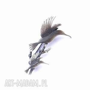 oryginalne broszki dwa kolibry na gałązce - broszka
