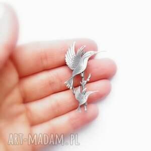 biżuteria dwa kolibry na gałązce - broszka