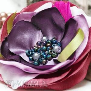 broszki: elegancka broszka kwiatek przypinka, tekstylne, upominek, handmade