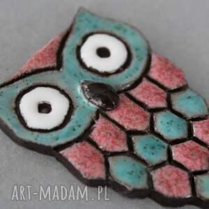 turkusowe broszki prezent śliczna broszka ceramiczna huu huu w odcieniach
