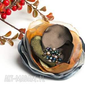 brązowe broszki tkanina jesienna broszka kwiatek, modna