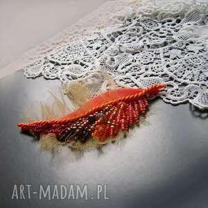 broszki: Jesienny liść - broszka - Hand Made