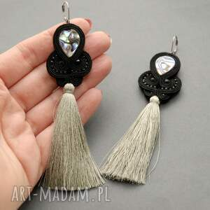 handmade broszki sznurek klipsy sutasz z muszlą paua
