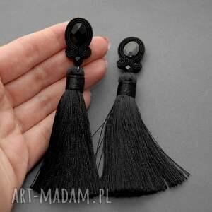 eleganckie broszki sznurek klipsy sutasz z onyksami i