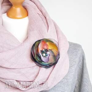 Pracownia Zolla broszki: Kolorowa broszka wiosenna, kwiat, handmade kwiatek