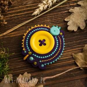 turkusowe broszki sutasz kolorowa broszka z żółtym