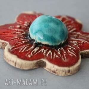 turkusowe broszki natura kwiat-broszka ceramika