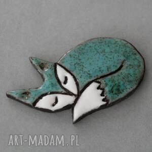 intrygujące broszki minimalizm lisek broszka ceramiczna