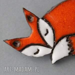 broszki skandywaski lisek broszka ceramiczna