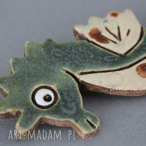 design broszki zielone morski dzikus - broszka ceramika