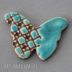 upominek broszki brązowe motyl broszka ceramiczna
