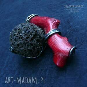 koral broszki czerwone prezent. piękna broszka z gałązki