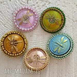 handmade broszki haft shiny buttons::dragonfly