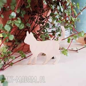 srebrne broszki przypinka do nerki kotek