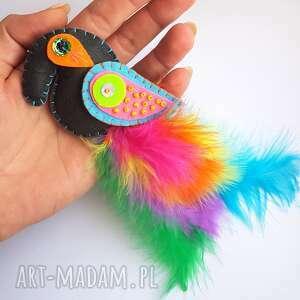 frapujące broszki filc rajski ptak - broszka z filcu