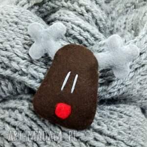 upominek świąteczny broszka filcowy renifer rudolf. ma ok 6cm i idealnie